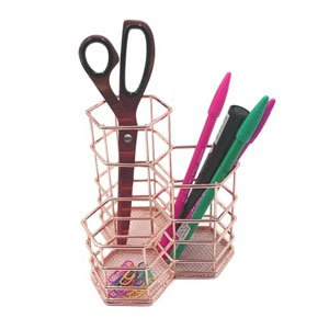 Pen Cup Holder for Desk Rose Gold, LEEGOAL Hexagon Metal Makeup Brush Organizer Stationery Storage Container Pencil Marker Gel Pen Holder Basket for Office Home School Classroom: Amazon.ca: Gateway