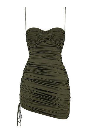 Clothing : Mini Dresses : Mistress Rocks 'Afterglow' Olive Asymmetric Ruched Mini Dress