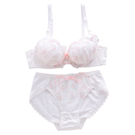 Buy Mimimint Set: Lace Trim Embroidered Bra + Panties   YesStyle