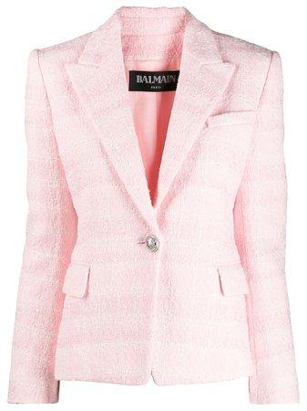 Pink Balmain Slim-fit Bouclé Tweed Jacket   Farfetch.com
