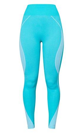 Blue Seamless Contrast Marl High Waist Gym Legging   PrettyLittleThing USA