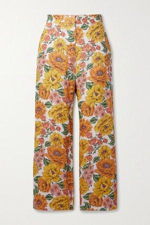 Poppy Cropped Floral-print Linen Wide-leg Pants - Yellow