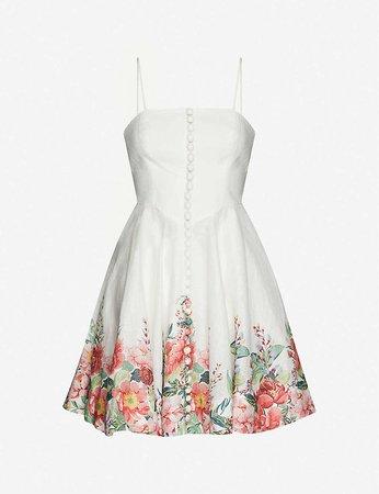 ZIMMERMANN - Floral-print linen mini dress | Selfridges.com