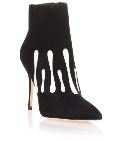 Manolo Blahnik Black Suede Ankle Boot With White Leather Stripe Detail