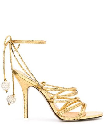 Shop gold The Attico open toe strappy sandals with Express Delivery - Farfetch