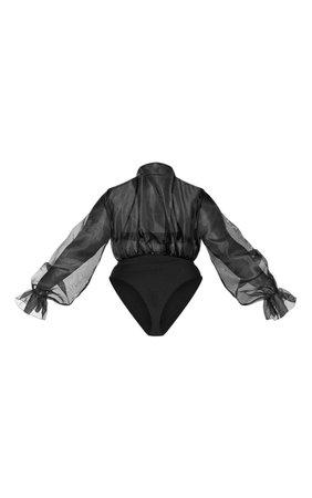 Plus Black Organza Tie Neck Bodysuit | PrettyLittleThing