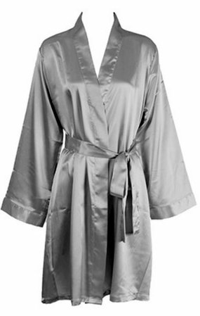 Solid Satin Robe - Gray – 1 Of A Kind