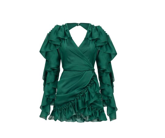 green dress silk