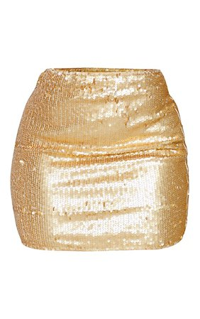 Shape Gold Sequin Bodycon Skirt - New In Clothing - New In   PrettyLittleThing USA