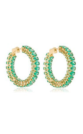 18k Yellow Gold Emerald Hoop Earrings By Goshwara | Moda Operandi