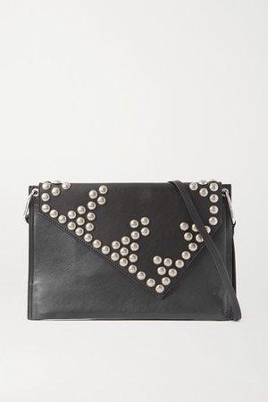 Tryne Studded Leather Shoulder Bag - Black