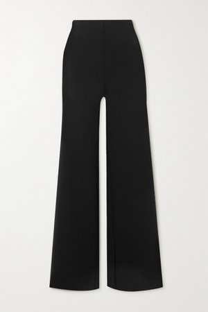 Black Stretch-neoprene wide-leg pants | Commando | NET-A-PORTER