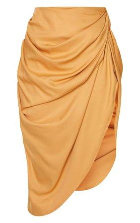 Camel Ruched Side Midi Skirt | Skirts | PrettyLittleThing
