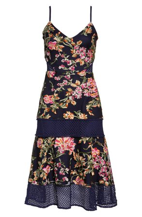 Adelyn Rae Kaylea Sleeveless Embroidered Lace Trim Dress | Nordstrom