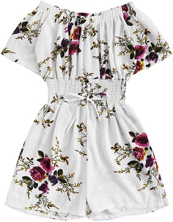 Amazon.com: Milumia Women Floral Short Sleeves Romper Jumpsuits Summer High Waisted Boho: Clothing
