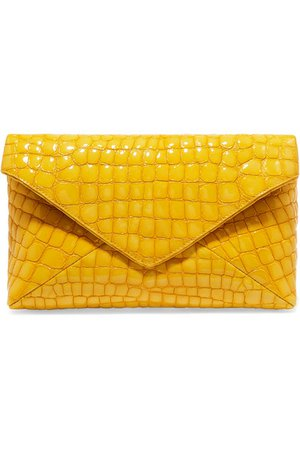 Dries Van Noten | Croc-effect patent-leather clutch | NET-A-PORTER.COM
