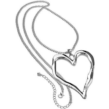 Lagenlook silver plated extra large heart pendant fashion jewellery long necklace: Amazon.co.uk: Jewellery