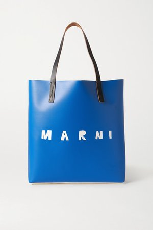 Printed Leather-trimmed Coated-pvc Tote - Blue