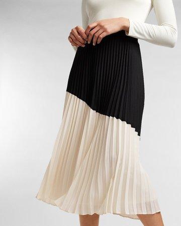 High Waisted Pleated Color Block Midi Skirt