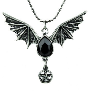 Bat Wing Black Stone Pentagram Necklace - Wanelo