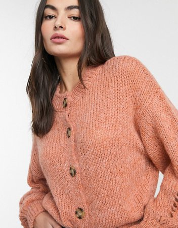 ASOS DESIGN crew neck cardi with button detail in fluffy knit £30.37
