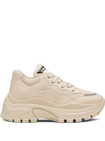 Prada Leather Panel Chunky Sneakers - Farfetch