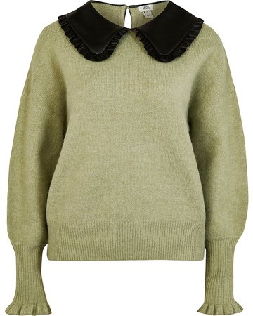 Green oversized collar knitted jumper | River Island
