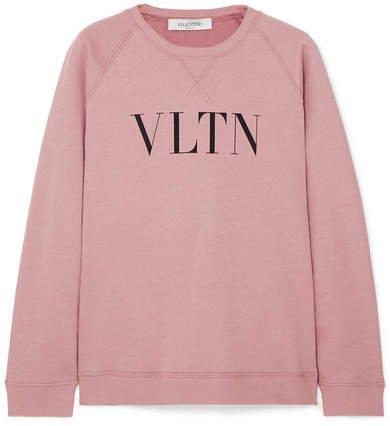 Printed Cotton-blend Jersey Sweatshirt - Pink