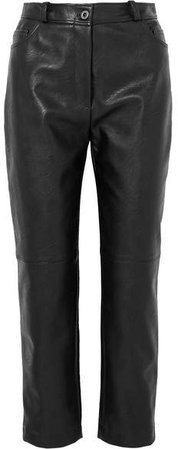 Faux Leather Straight-leg Pants - Black