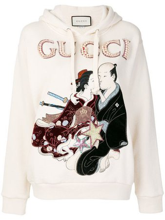 Shoppen Gucci embroidered japanese motif hoodie