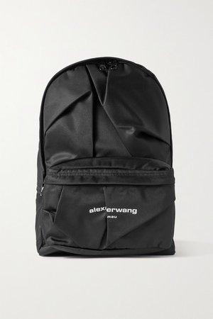 Wangsport Ruched Printed Nylon Backpack - Black
