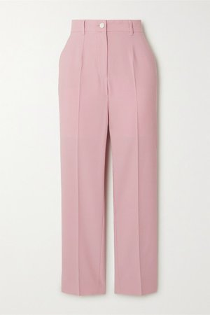 Striped Wool-blend Straight-leg Pants - Pink