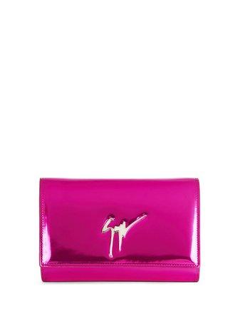 Shop pink Giuseppe Zanotti Cleopatra glossy clutch bag with Express Delivery - Farfetch