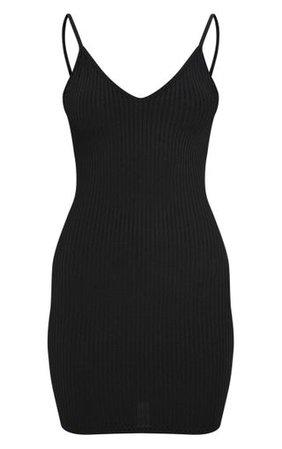 Black Rib Plunge Strappy Bodycon Dress | PrettyLittleThing