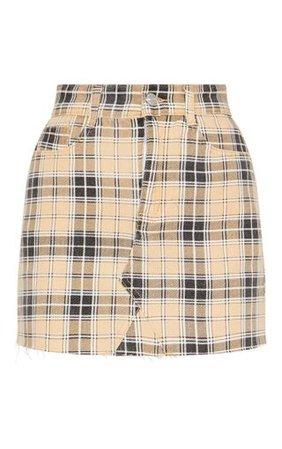 Stone Check Denim Skirt   Denim   PrettyLittleThing