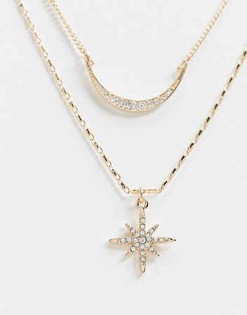 Reclaimed Vintage inspired multirow necklace with star and crescent moon in gold | ASOS