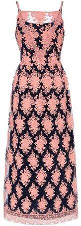 Mesh floral embellished lace dress