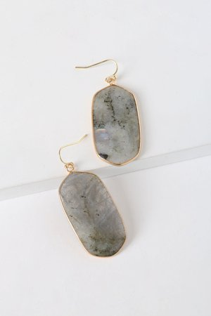 Grey Stone Earrings - Labradorite Earrings - Dangle Earrings