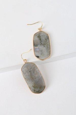 Grey Stone Earrings - Labradorite Earrings - Dangle Earrings