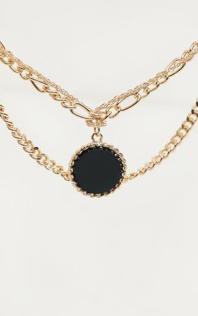 Gold Triple Chain Black Stone Layering Necklace | PrettyLittleThing