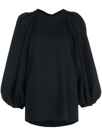 Shop Oscar de la Renta open-back balloon-sleeved blouse with Express Delivery - FARFETCH