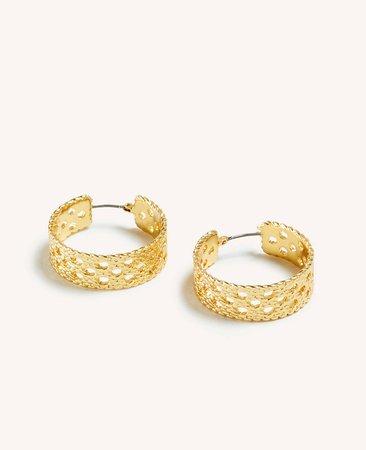 Basketweave Hoop Earrings | Ann Taylor