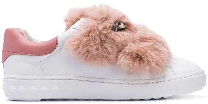 fur strap sneakers