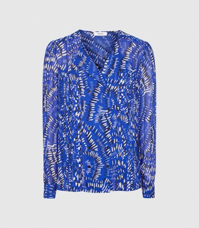 Daniella Blue Printed Blouse – REISS