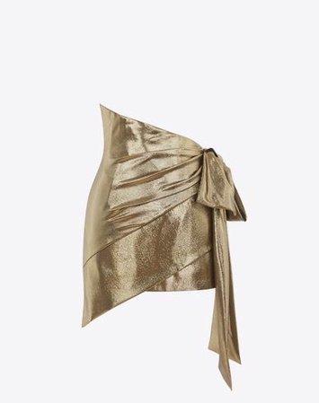 SAINT LAURENT GOLD ASYMMETRICAL DRAPED MINI SKIRT