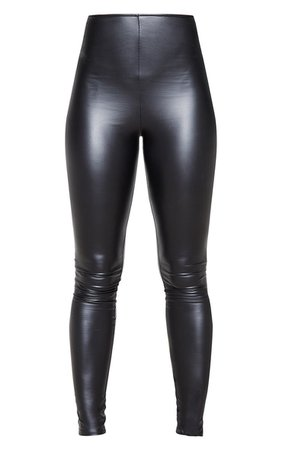 Tall Black V Front Pu Cropped Legging   PrettyLittleThing