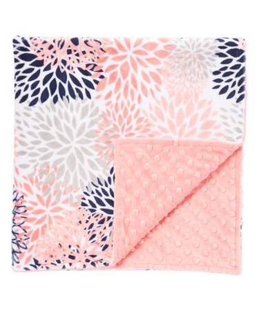 Lolly Gags 28 x 28 Coral Blooms Minky Stroller Blanket | zulily