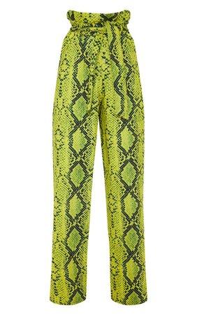 Neon Yellow Snake Print Wide Leg Pants   PrettyLittleThing USA