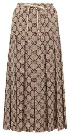 Gg Print Pleated Midi Skirt - Womens - Brown Multi