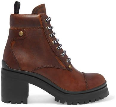 Lace-up Leather Ankle Boots - Brown